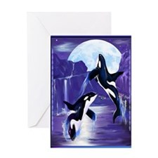 Womens F- Orcas In A Bay Greeting Cards