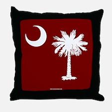 SC Palmetto Moon State Flag Garnet Throw Pillow