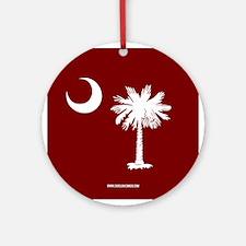 SC Palmetto Moon State Flag Garnet Ornament (Round
