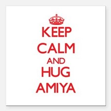 "Keep Calm and Hug Amiya Square Car Magnet 3"" x 3"""