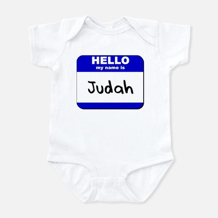 hello my name is judah  Infant Bodysuit