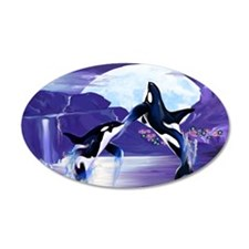 Two Leaping Orcas Posterp Wall Decal