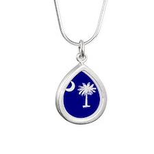 SC Palmetto Moon State Flag Blue Silver Teardrop N