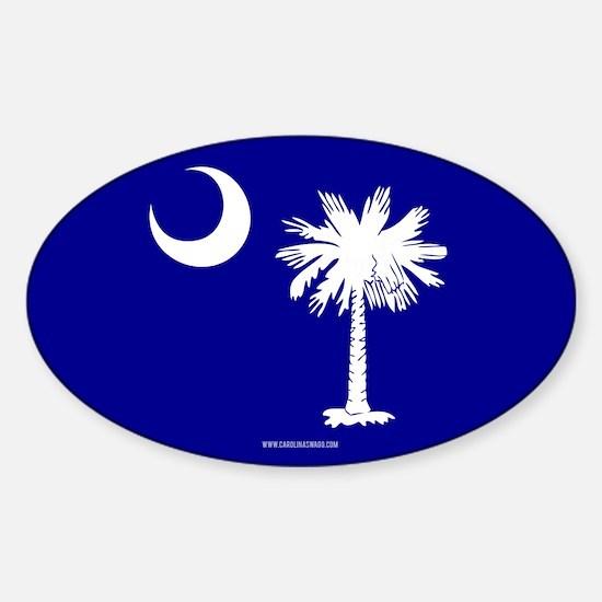 SC Palmetto Moon State Flag Blue Sticker (Oval)