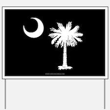SC Palmetto Moon State Flag Black Yard Sign