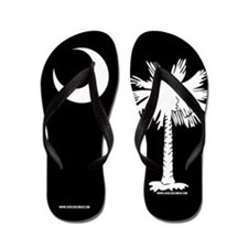 SC Palmetto Moon State Flag Black Flip Flops