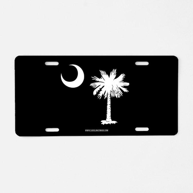 SC Palmetto Moon State Flag Black Aluminum License