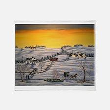 Amish Horse and Buggy Landscape Folk Throw Blanket