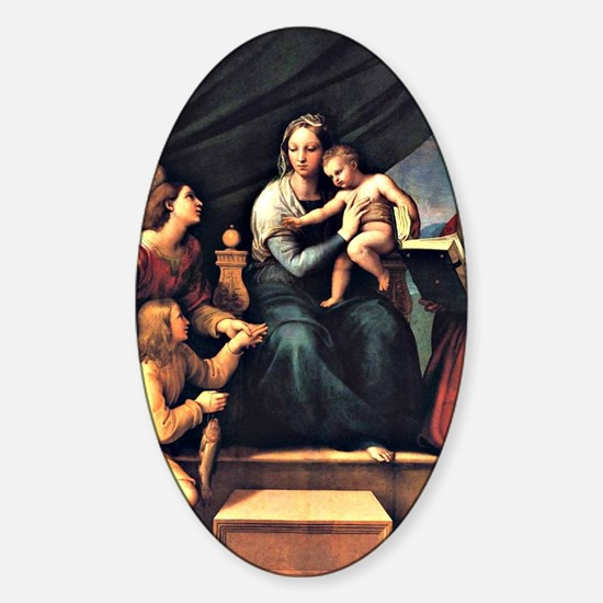 Raphael's The Madonna of the Fish Sticker (Oval)