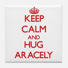 Keep Calm and Hug Aracely Tile Coaster
