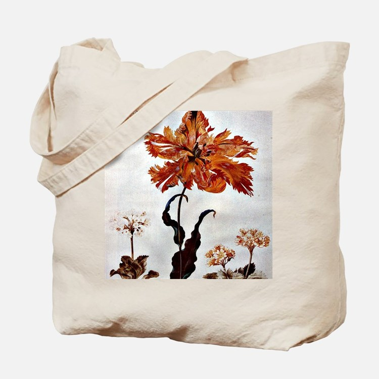 Parrot Tulip, botanical art by Maria Siby Tote Bag