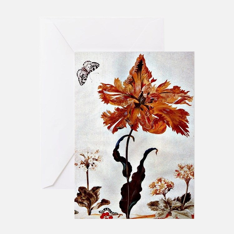 Parrot Tulip, botanical art by Maria Greeting Card