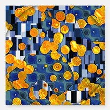 "Klimtified! - Gold/Blue Square Car Magnet 3"" x 3"""