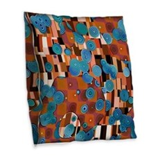 Klimtified! - Rust/Turquoise Burlap Throw Pillow