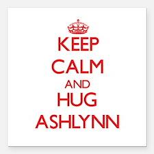 "Keep Calm and Hug Ashlynn Square Car Magnet 3"" x 3"