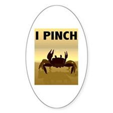 I Pinch Crab Oval Decal