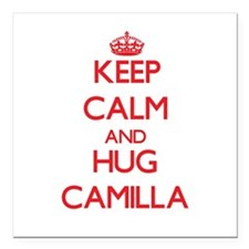 "Keep Calm and Hug Camilla Square Car Magnet 3"" x 3"