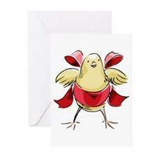 Easter Chick with Red Bow Greeting Cards (Package