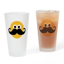 Yellow smiley mustache Drinking Glass