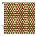Peppermint Brown Shower Curtain