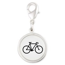 Bicycle bike Silver Round Charm