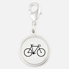 Bicycle bike Silver Round Charm
