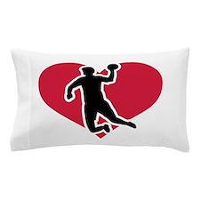 Handball player red heart Pillow Case