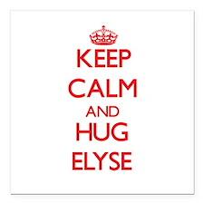 "Keep Calm and Hug Elyse Square Car Magnet 3"" x 3"""