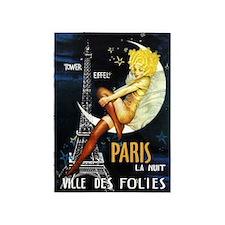 Paris, Eiffel Tower,Moon, Vintage Poster 5'X7'area
