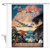 Carribean, Plane, Travel, Vintage Poster Shower Cu