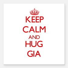 "Keep Calm and Hug Gia Square Car Magnet 3"" x 3"""