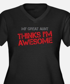 Great Aunt Awesome Women's Plus Size V-Neck Dark T