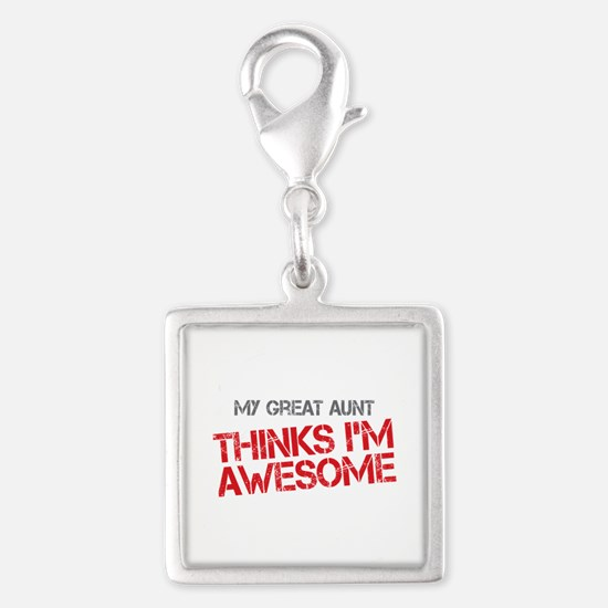 Great Aunt Awesome Silver Square Charm