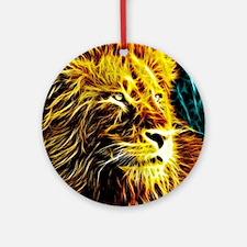 Glow Lion (Blue) Round Ornament