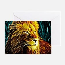 Glow Lion (Blue) Greeting Card