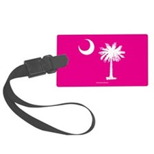 SC Palmetto Moon State Flag Pink Luggage Tag