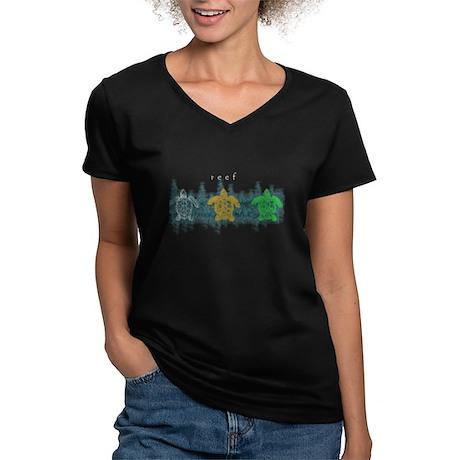 "Reef ""Turtles"" Women's V-Neck Dark T-Shirt"
