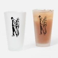 Police Arresting Criminal Cartoon Drinking Glass