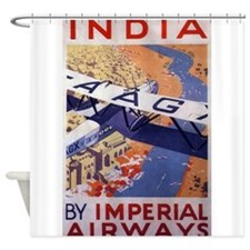 India, Travel, Vintage Poster Shower Curtain