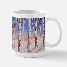 Snowy Trees Orange & Blue Mugs