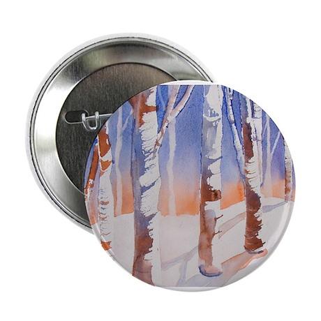 "Snowy Trees Orange & Blue 2.25"" Button"
