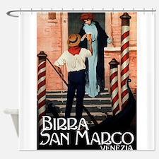 Gondola,Beer, Venice, Vintage Poster Shower Curtai