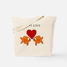 Funny Guppy Love Cartoon Tote Bag