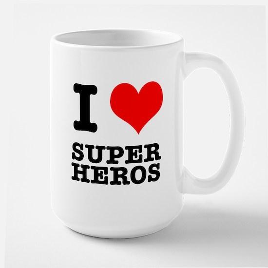 I Heart (Love) Super Heros Large Mug