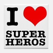 I Heart (Love) Super Heros Tile Coaster