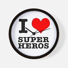I Heart (Love) Super Heros Wall Clock