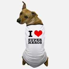 I Heart (Love) Super Heros Dog T-Shirt
