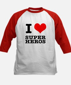 I Heart (Love) Super Heros Kids Baseball Jersey