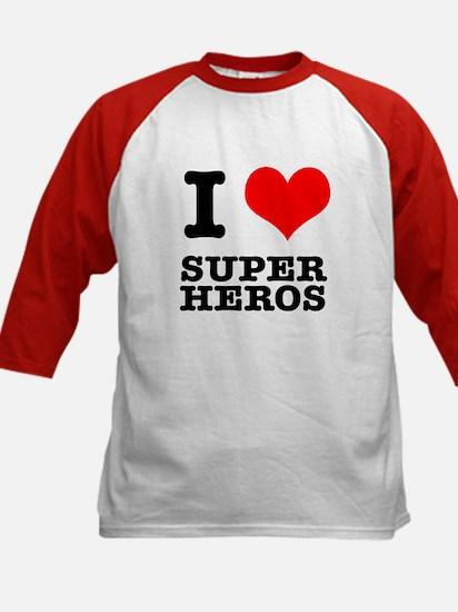 I Heart (Love) Super Heros Kids Baseball Jersey