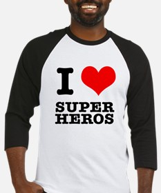 I Heart (Love) Super Heros Baseball Jersey
